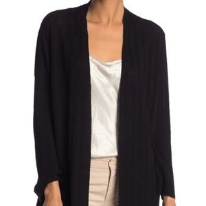 Eileen Fisher Black Ribbed Simple Cardigan Sweater
